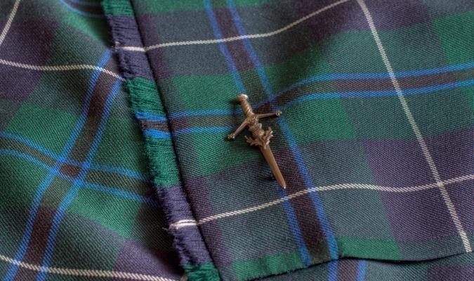 Close up of a tartan fabric