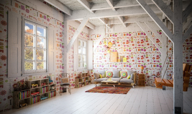 Bohemian Living Room Décor With Hardwood Floors