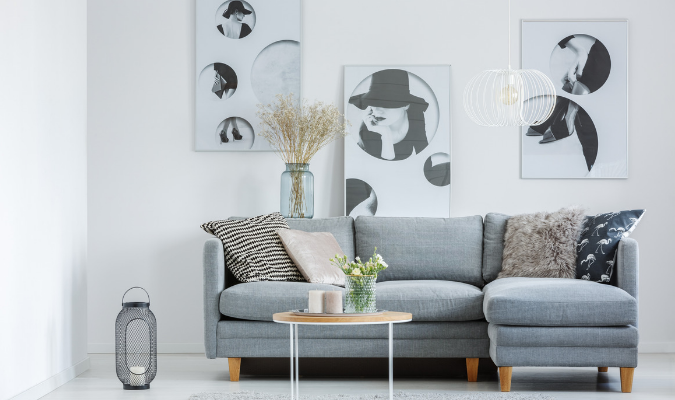 Grey L-shaped sofa cushion styling ideas