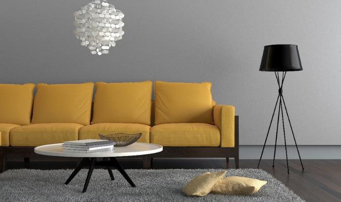Trendy mustard sofa in modern living room