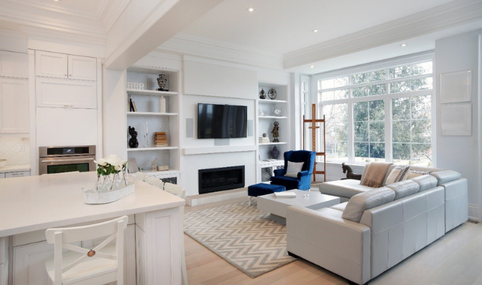 Bold Blue Armchair In White Living Room Decor