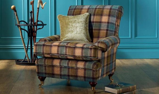 Tartan fabric upholstery