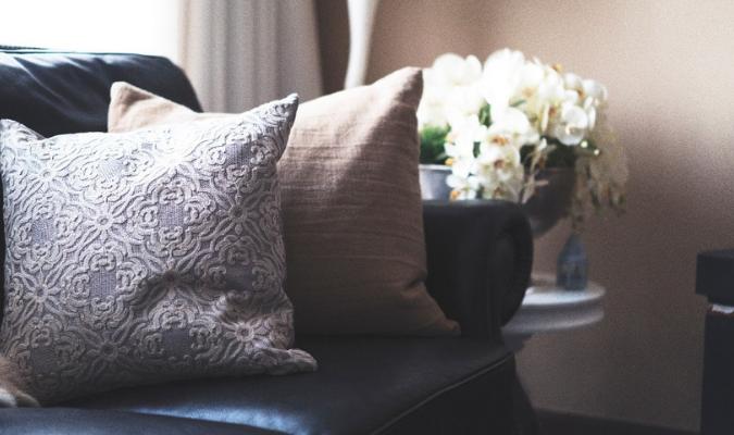 Floral Fabric On Sofa Cushions