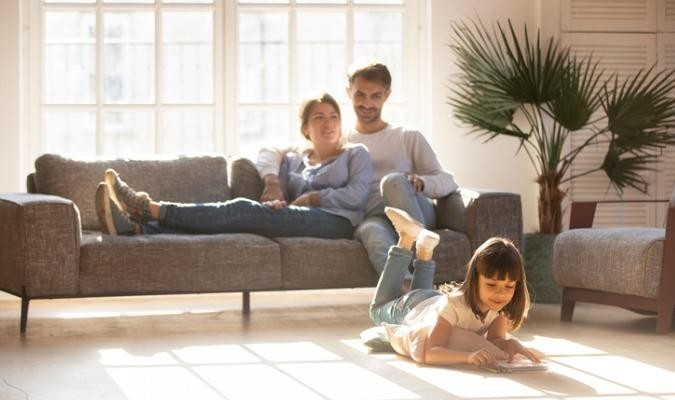 Family in a comfortable living room