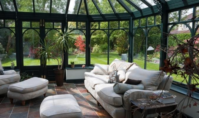 Modern conservatory with white sofa fabric