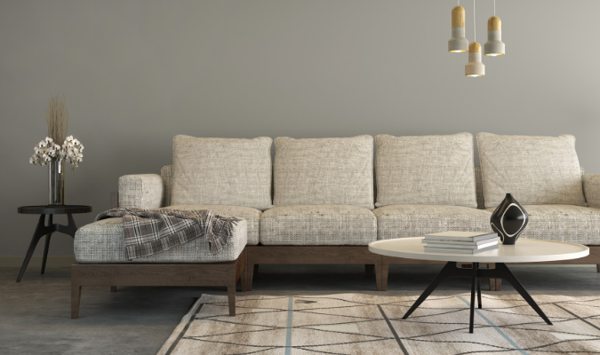 Steam cleaned natural fabric sofa