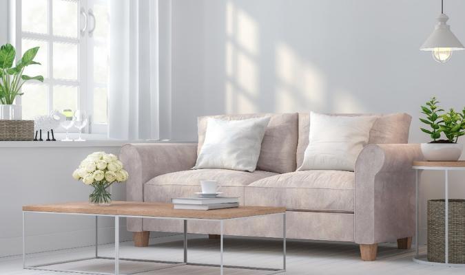 Velvet Reupholstered Sofa In Sunlight