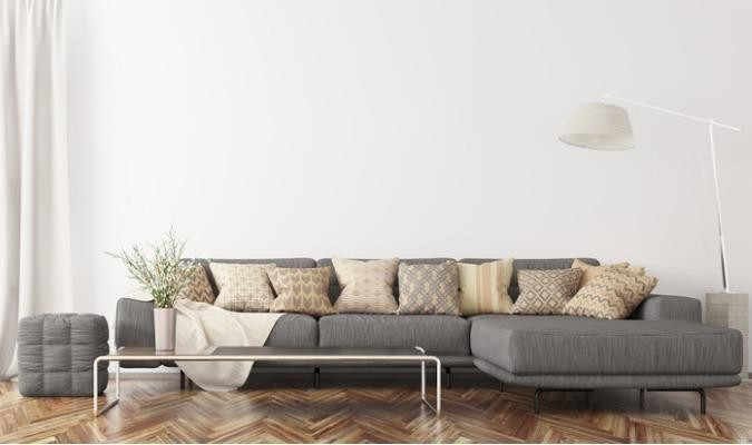 L-shaped sectional sofa in a white living room