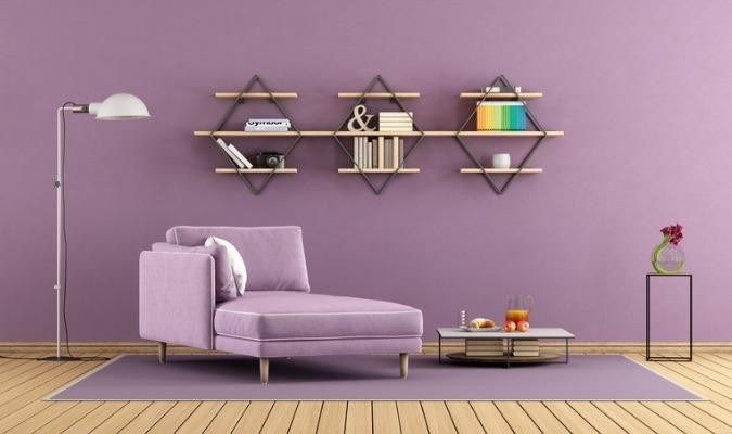 Purple room with chaise lounges