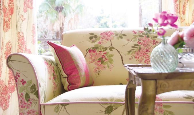 Pink flower print sofa fabric