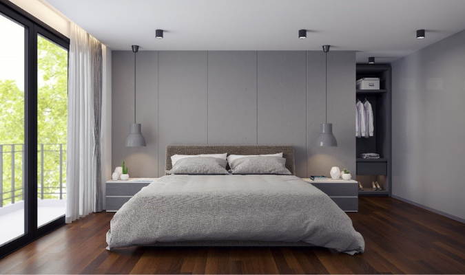 Matching Soft Grey Bedroom Curtains And Bedding