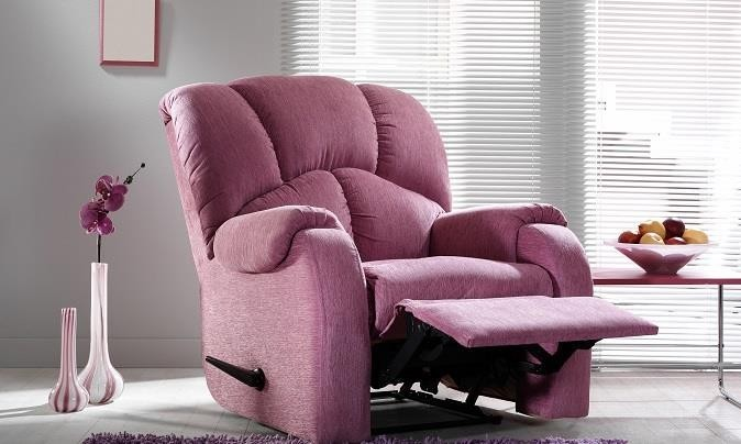 Purple reclining easy chair