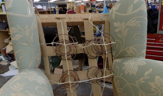 Double Cone Springs During Reupholstery Process
