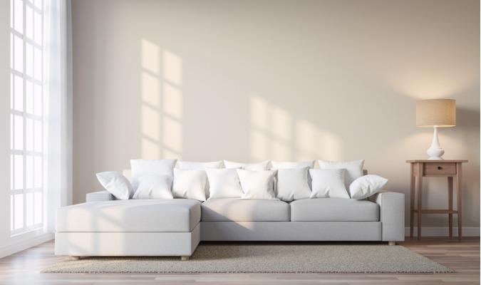 Sun-soaked cream sofa