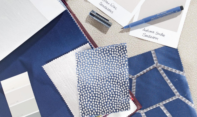 A blue interior design mood board