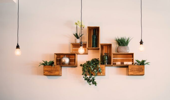 DIY crate storage with hanging lights