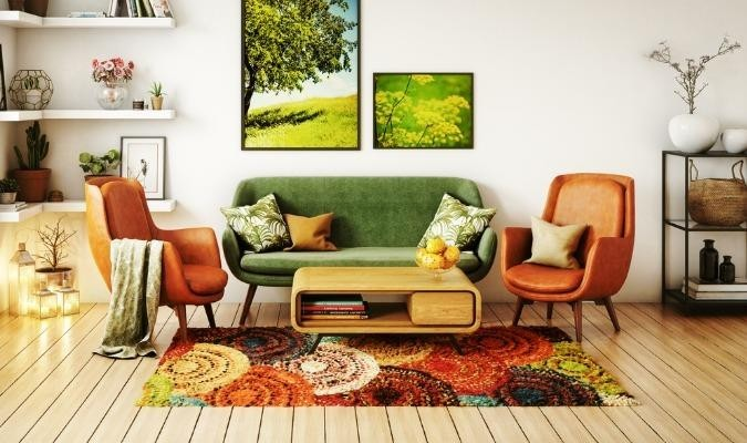 A seventies style living room using upcycled chairs