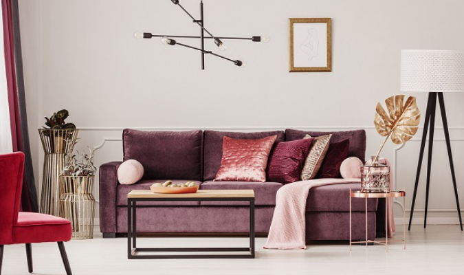 Modern lounge with crushed velvet cushions