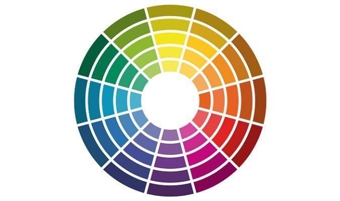 A colour wheel featuring 12 colours