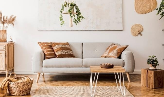 Sustainable living room with beige sofa