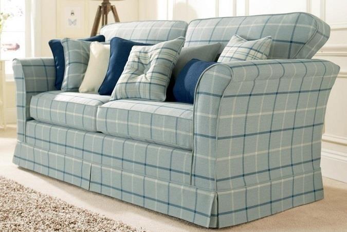 Plumbs blue check sofa