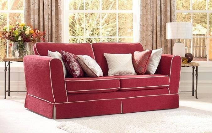 Red sofa with white trim
