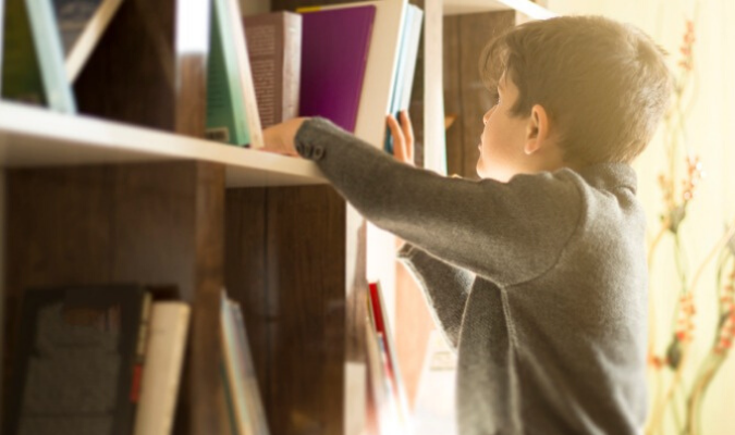 Boy Looking Through Upcycled Bookcase
