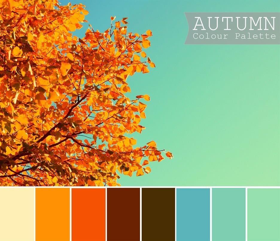 Autumn Colors Aqua And Orange Colourtext