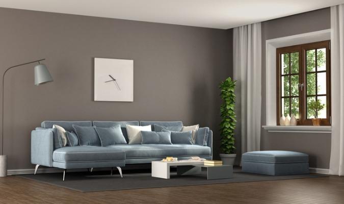 Eggshell Blue And Slate Grey Calm Living Room