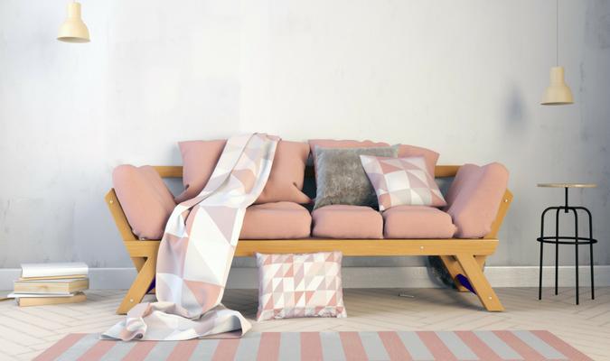 Pink restuffed sofa cushions