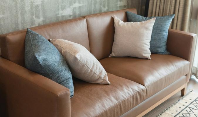Leather Sofa With Restuffed Sofa Cushions