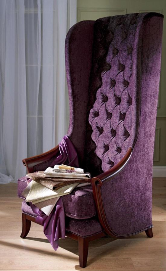 Chair Reupholstered in Chelsea Velvet - Eggplant
