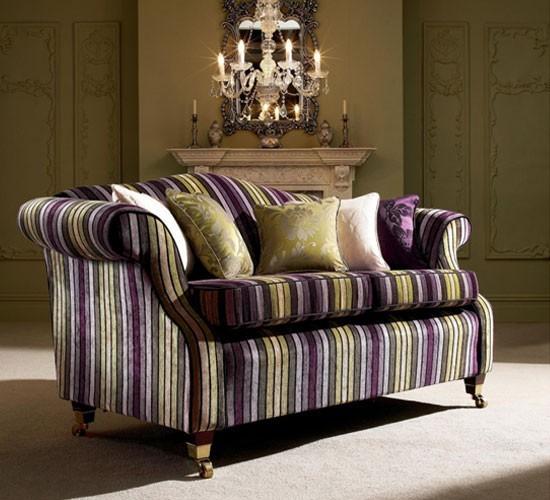 Sofa Re-upholstered in Italian Stripe - Aubergine/Green