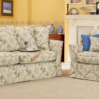 Jacquard Fabric - Summer Palace Jacobean, Stone/Blue